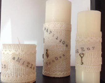 Decorated candles shabby chic to your home decor