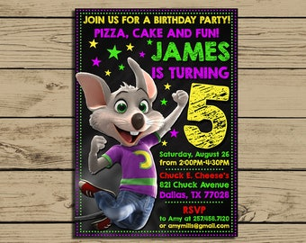 Chuck E Cheese Invitation * Chuck E Cheese Birthday Invite * Chuck E Cheese Birthday Party Chalkboard Invitations * Personalized * YOU PRINT
