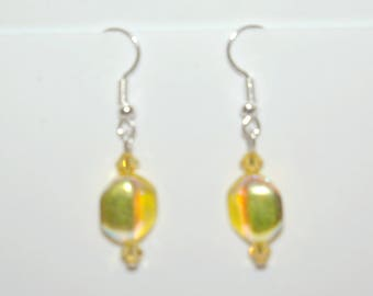 Yellow glass beads earrings
