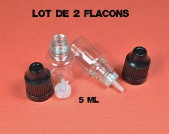 Set of 2 bottles PVC clear 5 mL