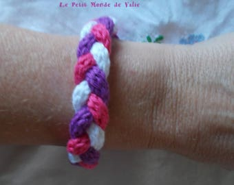 Purple, fuchsia and white tricolor bracelet