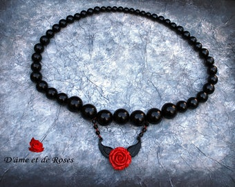 Pearl Necklace black, pink, red and black metal wings