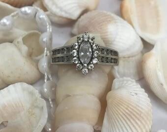 Vintage 925 silver wedding/engagement CZ ring