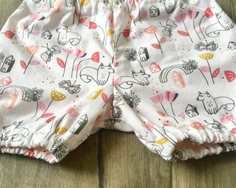 Girls Fox Print Shorts