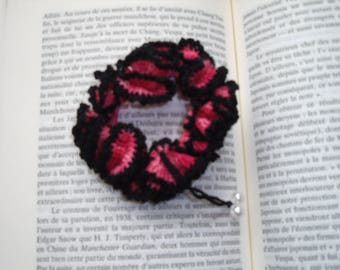 BLACK COTTON ELASTIC SCRUNCHIE AND OLD ROSE