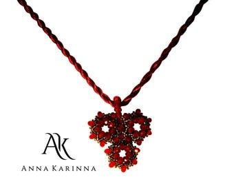 Statement necklace Red crystal necklace  Red victorian necklace Red Y Necklace  - AnnaKarinnaJewelry