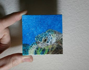 """Oil Painting Real, Wall Art, Canvas Art, Original Hand Painted """"Benthic Sea Turtle"""""""