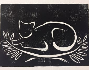 Wild Cat Linocut Print