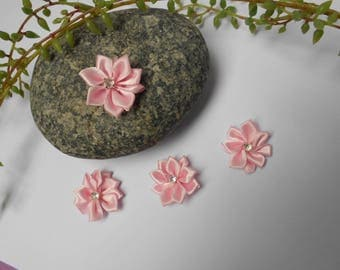 Flower pink satin and rhinestones - 2.50 cm - sold individually