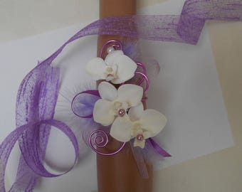 """Flowers for wedding - purple and white - """"Orchid"""" bracelet"""