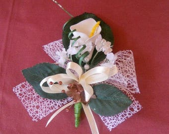 Wedding brooch or boutonniere white green and ivory