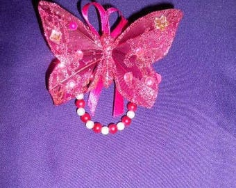 Fuschia Butterfly hairclip and white