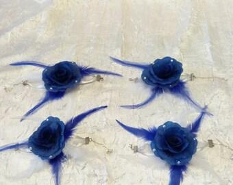 Royal blue wedding flower bracelet / white