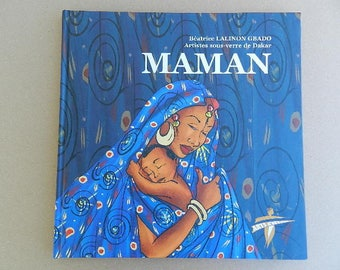 "Hardback book poem tribute to ""MOM"" and African art for mothers day gift"