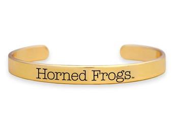 TCU Horned Frogs Gold Cuff Bracelet