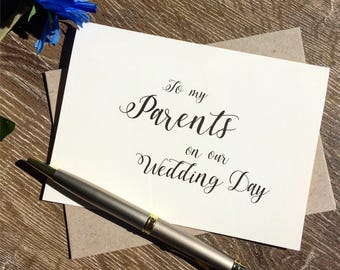 To my parents on my wedding day card, To my parents on our wedding day card,To my mum and dad on our wedding day, Thank you card parents