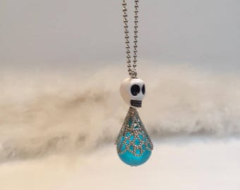 Skull bead blue white-ORIGINAL little doll
