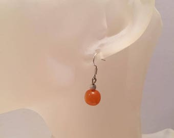 Orange and small Pearl Earrings sequined