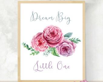 Dream Big Little One | Nursery Wall Art | Dream Catcher Print | Baby Shower Gift | Digital Download | Printable Wall Art |