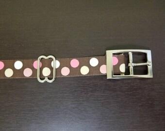 """1"""" Pink Dots Jacquard Dog Collar"""