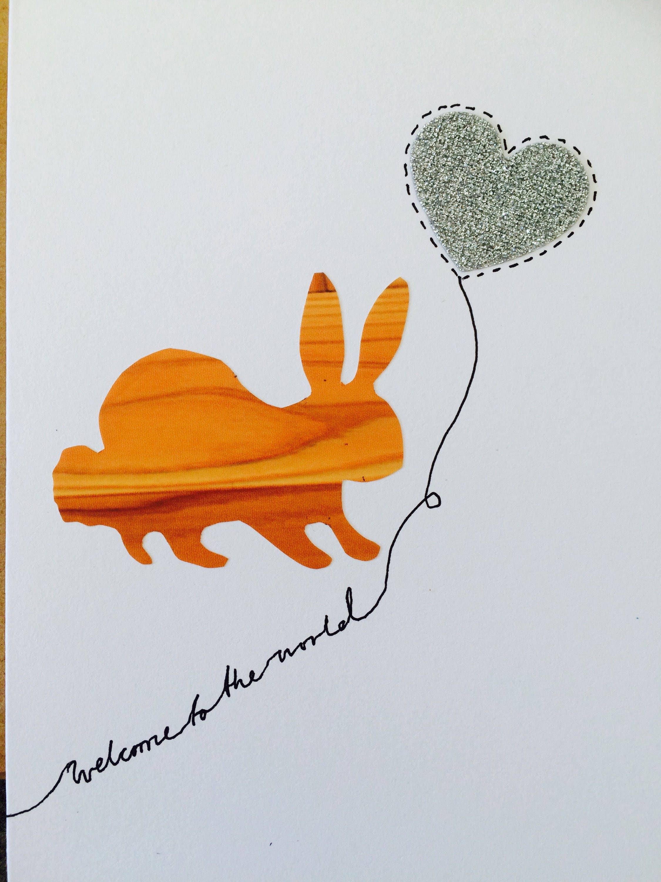 Wooden rabbit new baby greetings card silver glitter heart wooden rabbit new baby greetings card silver glitter heart kristyandbryce Gallery