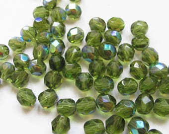 60 faceted beads 6mm olivine green Crystal