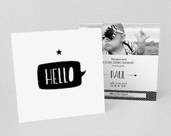 Lot de Faire-part de naissance/baptême, Hello Design - Modèle Paul