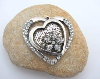 Large size, color heart pendant silver