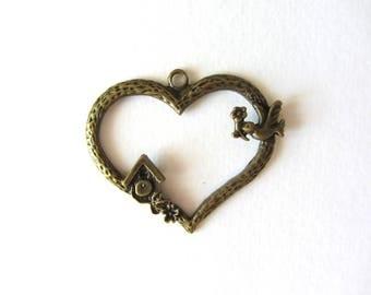 Charm, bronze pendant heart with bird