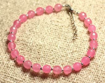 Bracelet 925 sterling silver and stone - 6mm faceted pink Jade