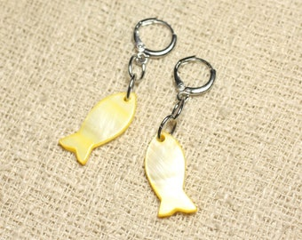 Fish 23mm yellow pearl earrings