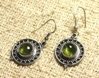 BO209 - 21 925 Silver earrings - Peridot 8mm round