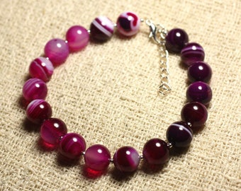Pink bracelet 925 sterling silver and semi precious stone - Agate 10 mm