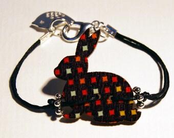 Brown polka dot rabbit bracelet multicolor