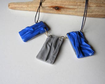 Fancy blue and grey leather necklace