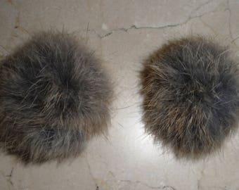 2 tassels made of genuine natural rabbit fur 4.5 / 5 cm