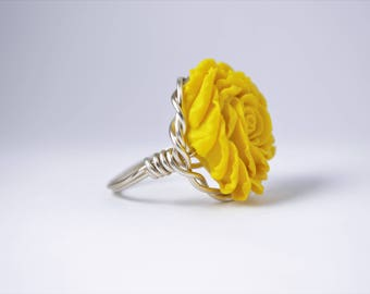 Wire Wrapped Rose Ring; Sunshine Yellow (Silver Band)
