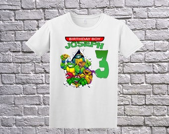 Teenage Mutant Ninja Turtles Birthday T-Shirt, Custom TMNT Shirt, Personalized Ninja Turtles Apparel,Custom TMNT , Ninja Turtles Theme Party