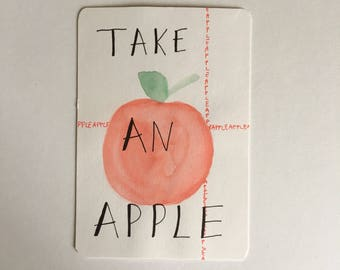 "Card; ""Take an apple"""