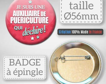 Badge I am a childcare auxiliary tearing auxiliary 56 mm nursery gift idea