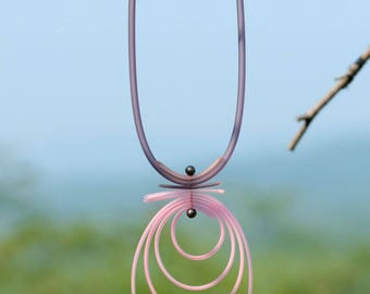 Original necklace in gray and pink PVC