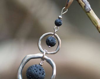 Silver earrings, 2 rings and 3 lava beads