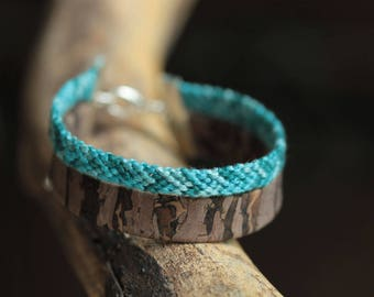 Bracelet Brown Cork and Brazilian woven shades of turquoise blue