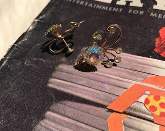 Vintage Screwback Crystal Earrings