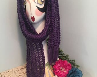 Handmade Knit Scarf With Fringe-Purple (Lace Whispers)