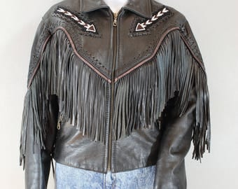Vintage Black leather fringe jacket with beading
