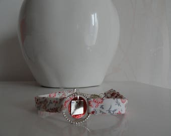 simple round liberty fabric red dot engraved circle and sequin charms bracelet