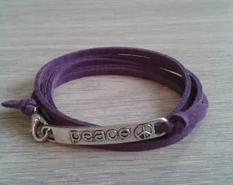 Suede purple Peace Message bracelet