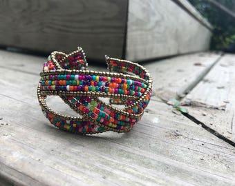 Interwoven Colorful Beaded Bracelet