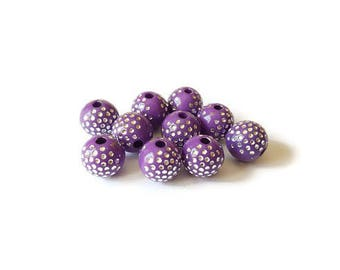 Purple dots round beads silver 8mm